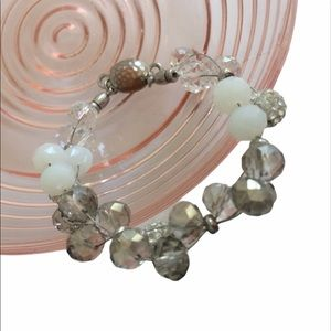 Chicos Opalescent White & Silver Bracelet